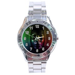 Digital Art Psychedelic Face Skull Color Stainless Steel Analogue Watch
