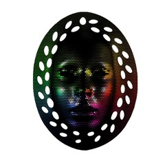 Digital Art Psychedelic Face Skull Color Oval Filigree Ornament (two Sides)