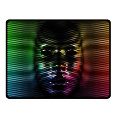 Digital Art Psychedelic Face Skull Color Double Sided Fleece Blanket (small)