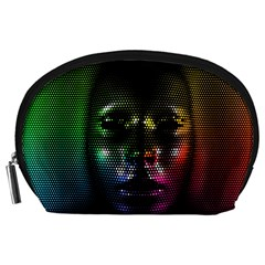 Digital Art Psychedelic Face Skull Color Accessory Pouches (large)  by BangZart
