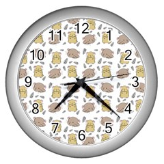 Cute Hamster Pattern Wall Clocks (silver)