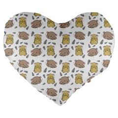Cute Hamster Pattern Large 19  Premium Flano Heart Shape Cushions