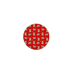 Cute Hamster Pattern Red Background 1  Mini Magnets by BangZart