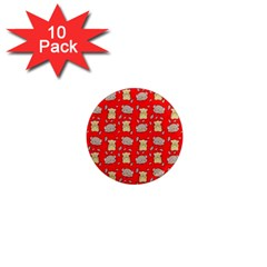 Cute Hamster Pattern Red Background 1  Mini Magnet (10 Pack)  by BangZart