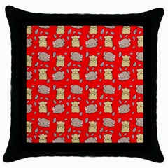 Cute Hamster Pattern Red Background Throw Pillow Case (black) by BangZart