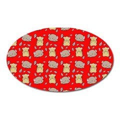 Cute Hamster Pattern Red Background Oval Magnet