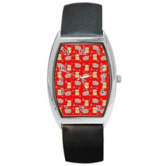 Cute Hamster Pattern Red Background Barrel Style Metal Watch by BangZart