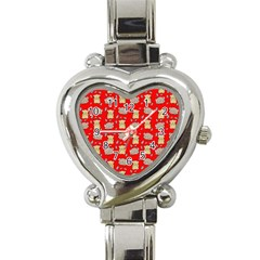 Cute Hamster Pattern Red Background Heart Italian Charm Watch by BangZart