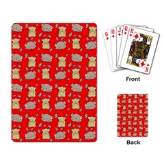 Cute Hamster Pattern Red Background Playing Card by BangZart