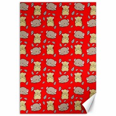 Cute Hamster Pattern Red Background Canvas 12  X 18