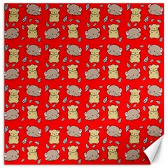 Cute Hamster Pattern Red Background Canvas 20  X 20