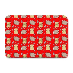 Cute Hamster Pattern Red Background Plate Mats by BangZart