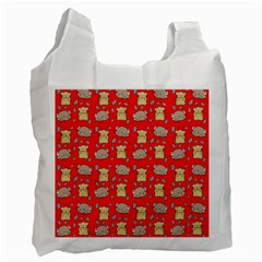 Cute Hamster Pattern Red Background Recycle Bag (one Side) by BangZart