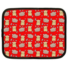 Cute Hamster Pattern Red Background Netbook Case (xxl)