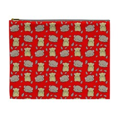 Cute Hamster Pattern Red Background Cosmetic Bag (xl) by BangZart