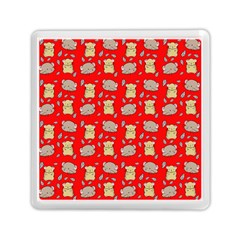 Cute Hamster Pattern Red Background Memory Card Reader (square)  by BangZart