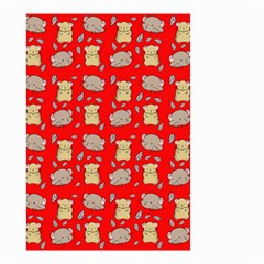 Cute Hamster Pattern Red Background Small Garden Flag (two Sides) by BangZart