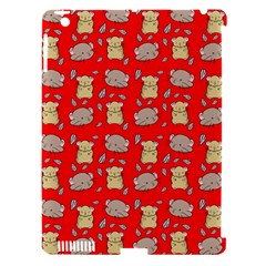 Cute Hamster Pattern Red Background Apple Ipad 3/4 Hardshell Case (compatible With Smart Cover)