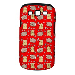 Cute Hamster Pattern Red Background Samsung Galaxy S Iii Classic Hardshell Case (pc+silicone)