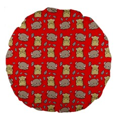 Cute Hamster Pattern Red Background Large 18  Premium Round Cushions