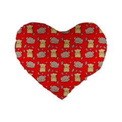 Cute Hamster Pattern Red Background Standard 16  Premium Heart Shape Cushions