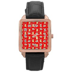 Cute Hamster Pattern Red Background Rose Gold Leather Watch  by BangZart