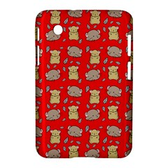 Cute Hamster Pattern Red Background Samsung Galaxy Tab 2 (7 ) P3100 Hardshell Case