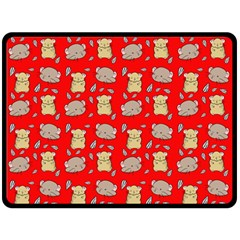 Cute Hamster Pattern Red Background Double Sided Fleece Blanket (large)  by BangZart