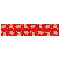 Cute Hamster Pattern Red Background Flano Scarf (small)