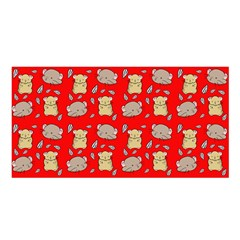 Cute Hamster Pattern Red Background Satin Shawl by BangZart