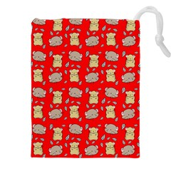 Cute Hamster Pattern Red Background Drawstring Pouches (xxl)