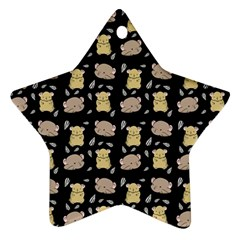 Cute Hamster Pattern Black Background Ornament (star)