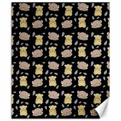 Cute Hamster Pattern Black Background Canvas 8  X 10  by BangZart