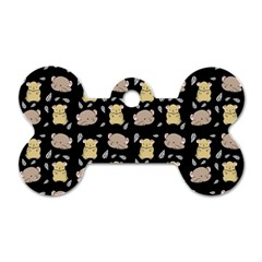 Cute Hamster Pattern Black Background Dog Tag Bone (two Sides) by BangZart