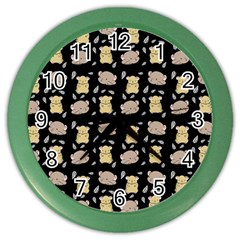 Cute Hamster Pattern Black Background Color Wall Clocks by BangZart