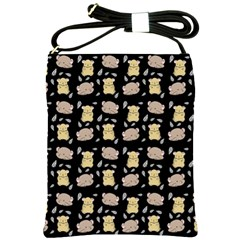 Cute Hamster Pattern Black Background Shoulder Sling Bags