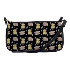 Cute Hamster Pattern Black Background Shoulder Clutch Bags by BangZart