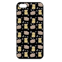 Cute Hamster Pattern Black Background Apple Iphone 5 Seamless Case (black) by BangZart