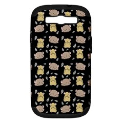Cute Hamster Pattern Black Background Samsung Galaxy S Iii Hardshell Case (pc+silicone) by BangZart