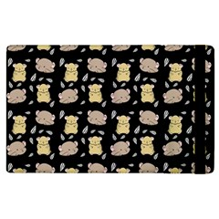 Cute Hamster Pattern Black Background Apple Ipad 2 Flip Case by BangZart