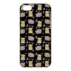 Cute Hamster Pattern Black Background Apple Iphone 5c Hardshell Case