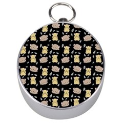 Cute Hamster Pattern Black Background Silver Compasses