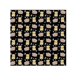 Cute Hamster Pattern Black Background Small Satin Scarf (square)
