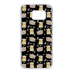 Cute Hamster Pattern Black Background Samsung Galaxy S7 White Seamless Case