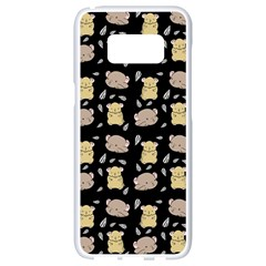 Cute Hamster Pattern Black Background Samsung Galaxy S8 White Seamless Case