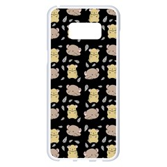 Cute Hamster Pattern Black Background Samsung Galaxy S8 Plus White Seamless Case