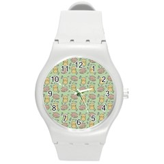 Cute Hamster Pattern Round Plastic Sport Watch (m)