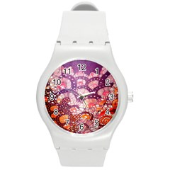 Colorful Art Traditional Batik Pattern Round Plastic Sport Watch (m) by BangZart