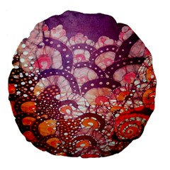 Colorful Art Traditional Batik Pattern Large 18  Premium Flano Round Cushions by BangZart