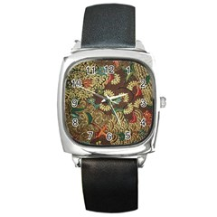 Colorful The Beautiful Of Art Indonesian Batik Pattern Square Metal Watch by BangZart